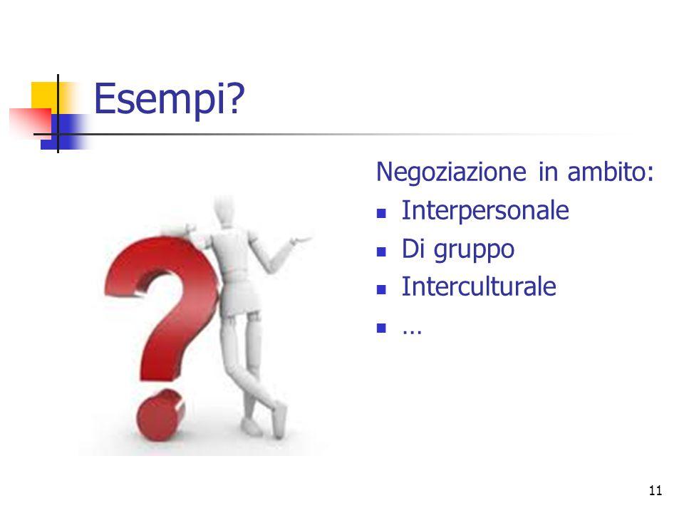 11 Esempi? Negoziazione in ambito: Interpersonale Di gruppo Interculturale …