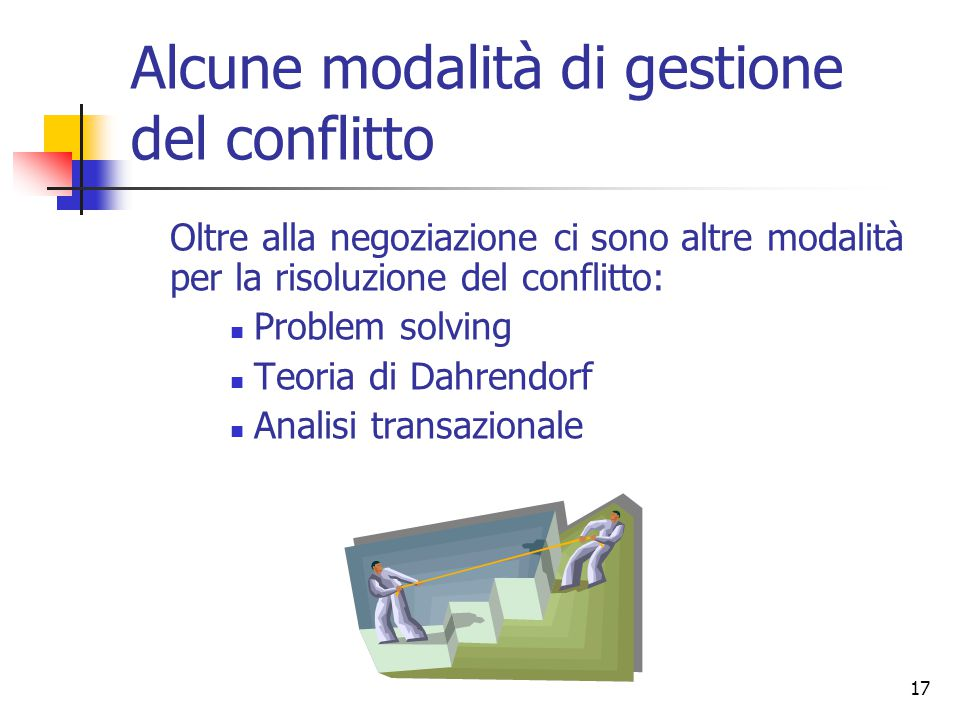 17 Alcune modalità di gestione del conflitto Oltre alla negoziazione ci sono altre modalità per la risoluzione del conflitto: Problem solving Teoria d