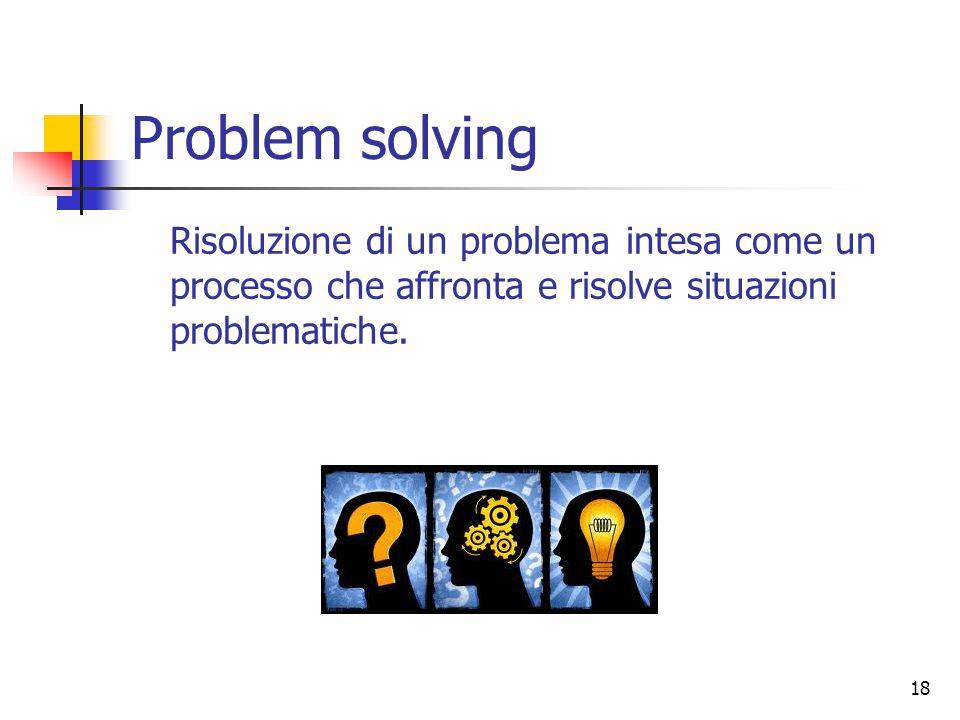 18 Problem solving Risoluzione di un problema intesa come un processo che affronta e risolve situazioni problematiche.