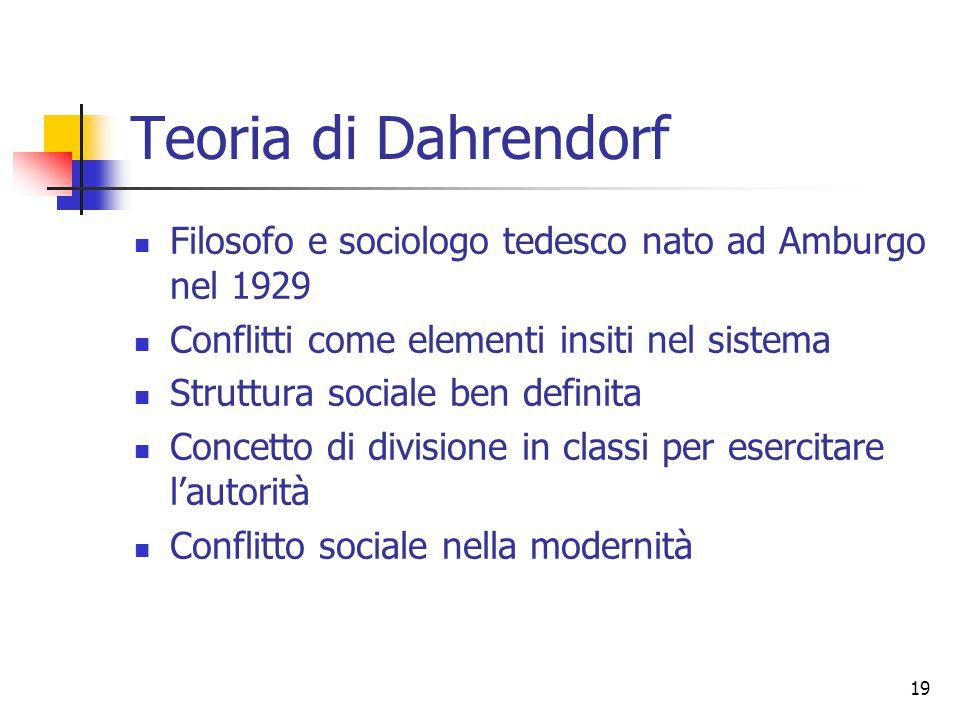 19 Teoria di Dahrendorf Filosofo e sociologo tedesco nato ad Amburgo nel 1929 Conflitti come elementi insiti nel sistema Struttura sociale ben definit