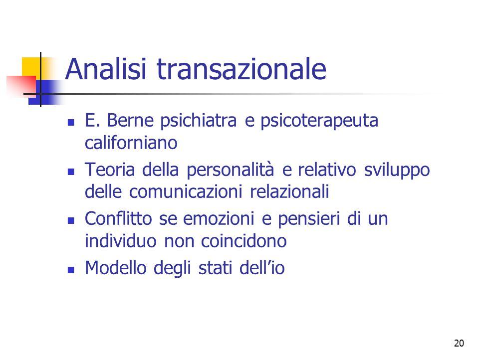 20 Analisi transazionale E. Berne psichiatra e psicoterapeuta californiano Teoria della personalità e relativo sviluppo delle comunicazioni relazional