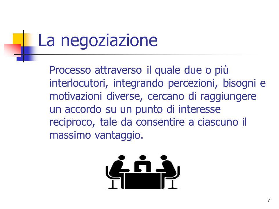 7 La negoziazione Processo attraverso il quale due o più interlocutori, integrando percezioni, bisogni e motivazioni diverse, cercano di raggiungere u