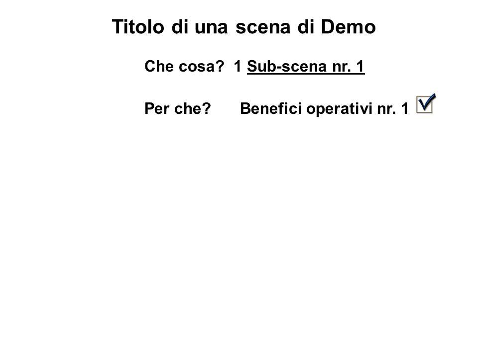 Titolo di una scena di Demo Che cosa 1 Sub-scena nr. 1 Per che Benefici operativi nr. 1