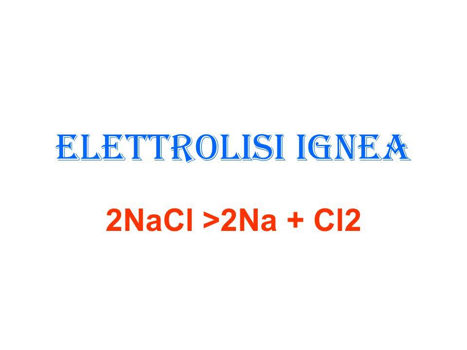 Elettrolisi ignea 2NaCl >2Na + Cl2