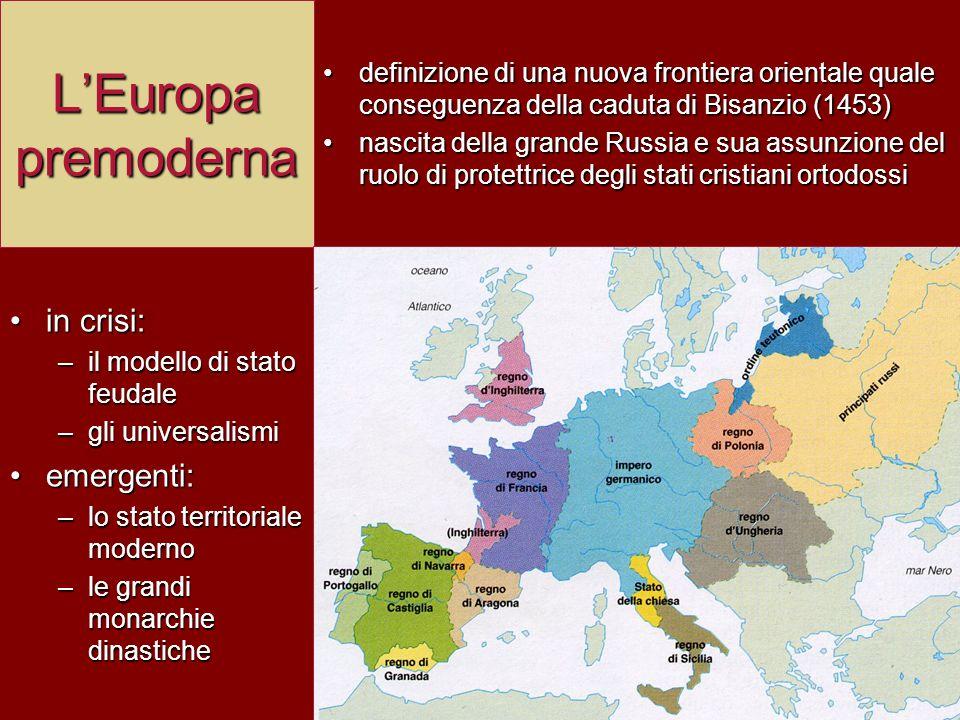 L'Europa premoderna in crisi: –i–i–i–il modello di stato feudale –g–g–g–gli universalismi emergenti: –l–l–l–lo stato territoriale moderno –l–l–l–le gr