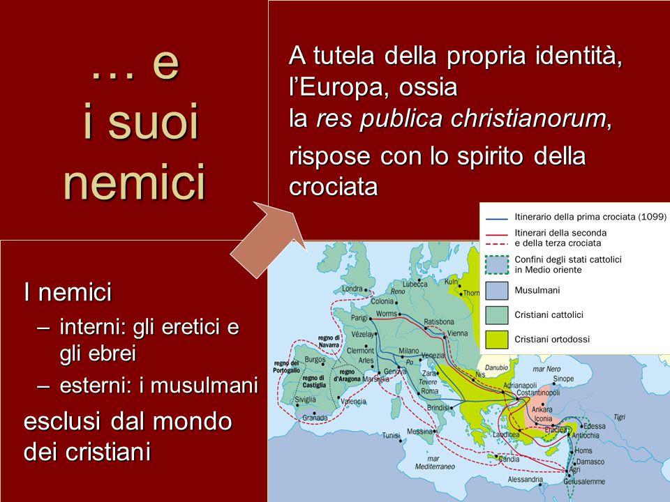 … e i suoi nemici A tutela della propria identità, l'Europa, ossia la res publica christianorum, rispose con lo spirito della crociata I nemici –inter