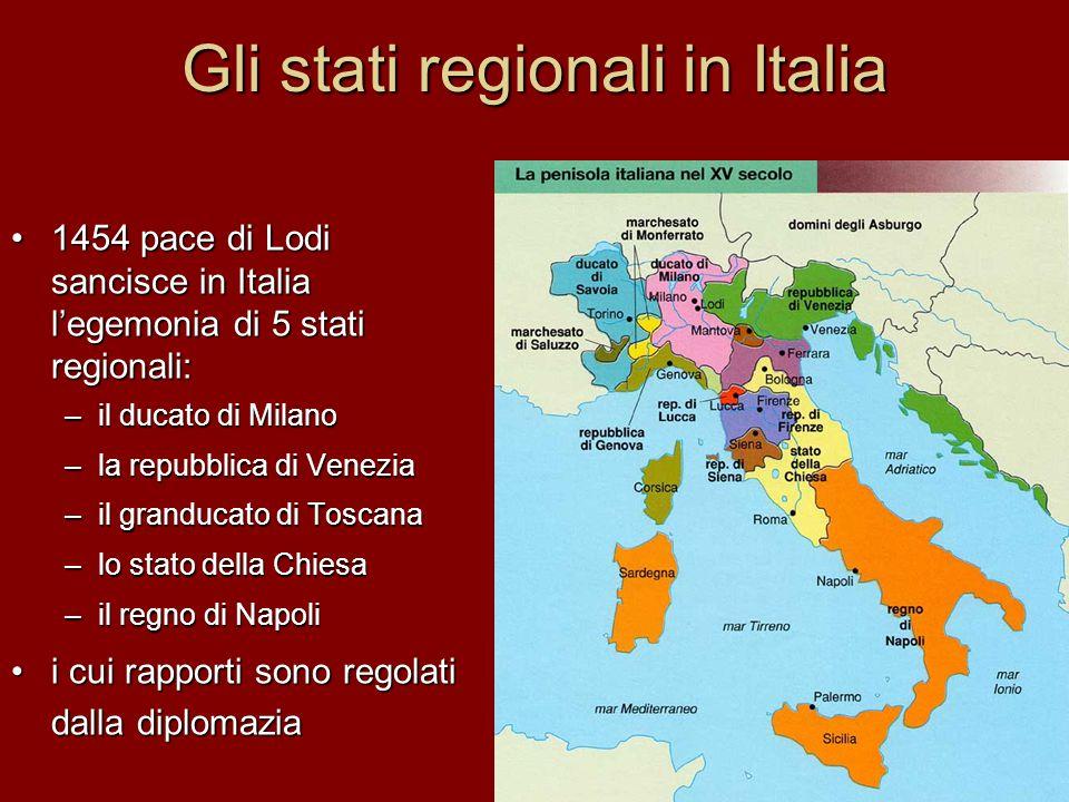 Gli stati regionali in Italia 1454 pace di Lodi sancisce in Italia l'egemonia di 5 stati regionali: –i–i–i–il ducato di Milano –l–l–l–la repubblica di