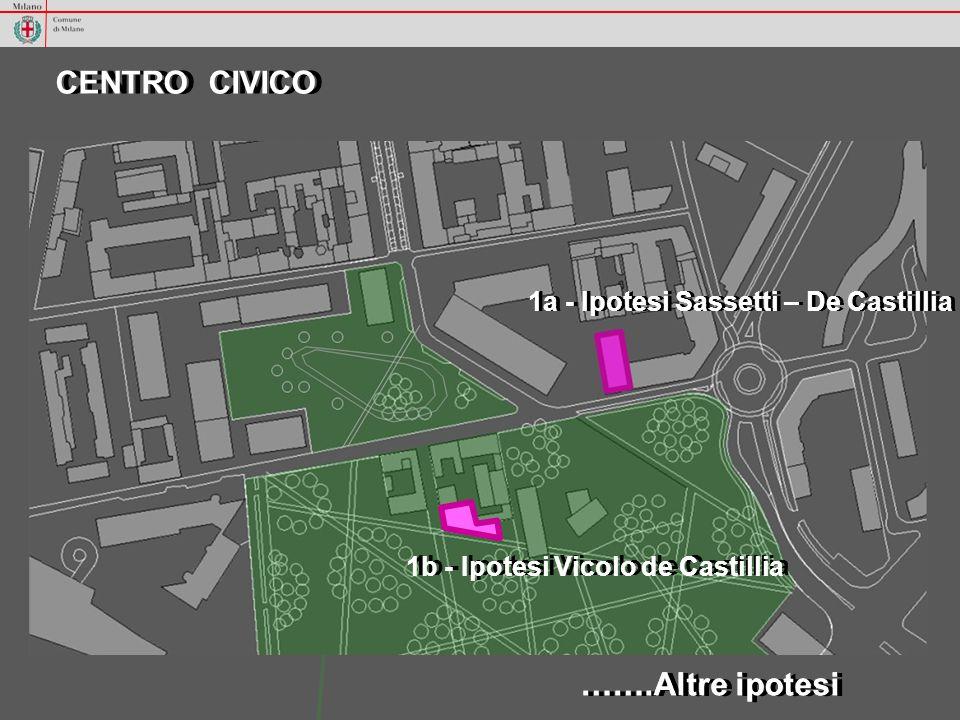 - Ristrutturazione e ampliamento edificio - Risorse economiche generate dalla variante pari a € 2,3 milioni CENTRO CIVICO Ipotesi Sassetti – De Castillia