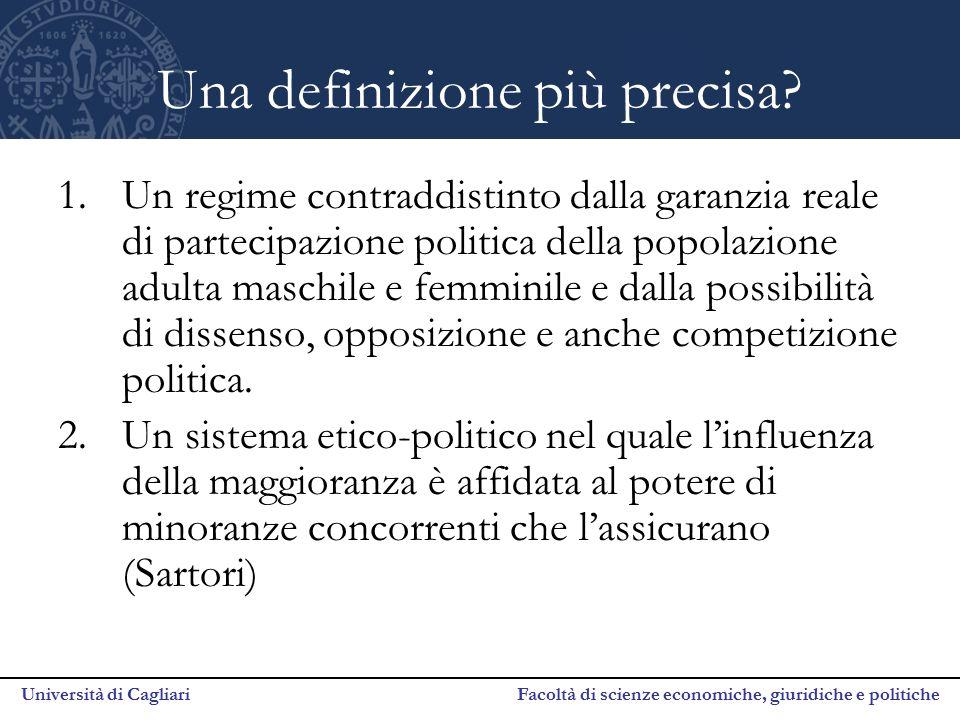Università di Cagliari Facoltà di scienze economiche, giuridiche e politiche Una definizione più precisa? 1.Un regime contraddistinto dalla garanzia r