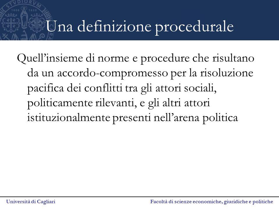 Università di Cagliari Facoltà di scienze economiche, giuridiche e politiche Una definizione procedurale Quell'insieme di norme e procedure che risult