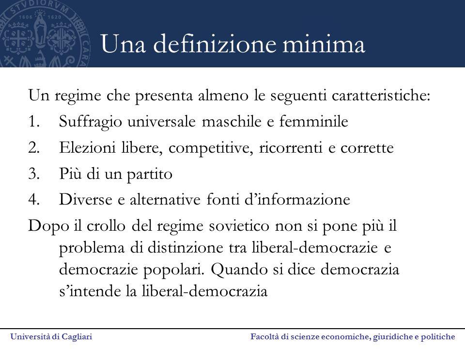 Università di Cagliari Facoltà di scienze economiche, giuridiche e politiche Una definizione minima Un regime che presenta almeno le seguenti caratter