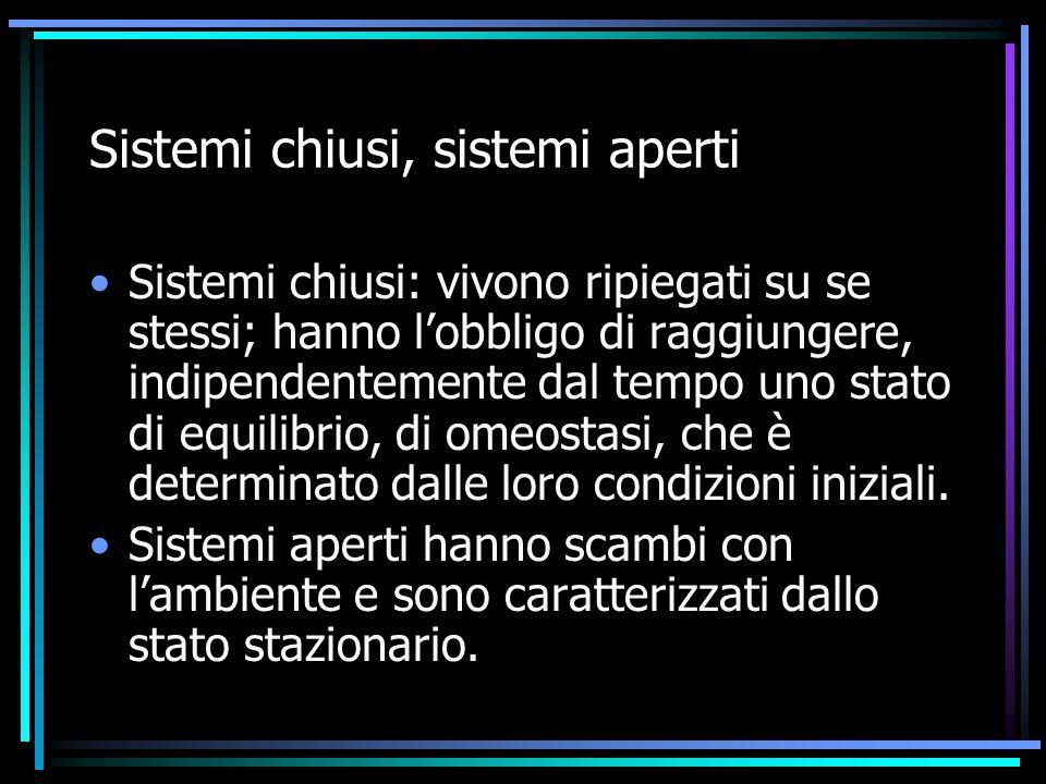 Sistemi chiusi, sistemi aperti Sistemi chiusi: vivono ripiegati su se stessi; hanno l'obbligo di raggiungere, indipendentemente dal tempo uno stato di