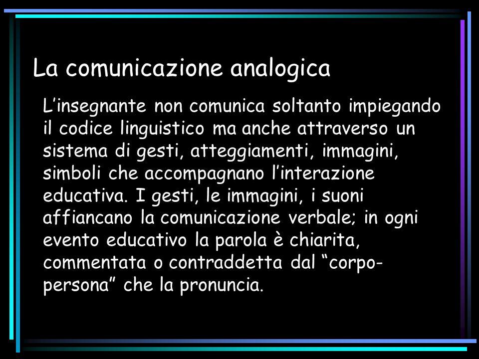 La comunicazione analogica L'insegnante non comunica soltanto impiegando il codice linguistico ma anche attraverso un sistema di gesti, atteggiamenti,