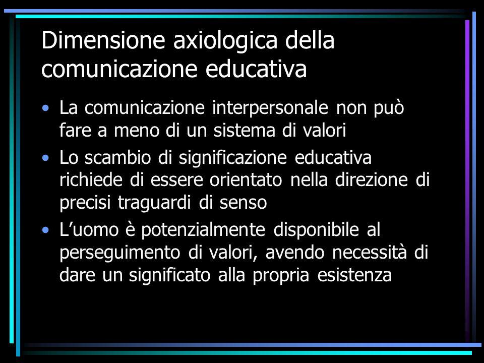 Dimensione axiologica della comunicazione educativa La comunicazione interpersonale non può fare a meno di un sistema di valori Lo scambio di signific