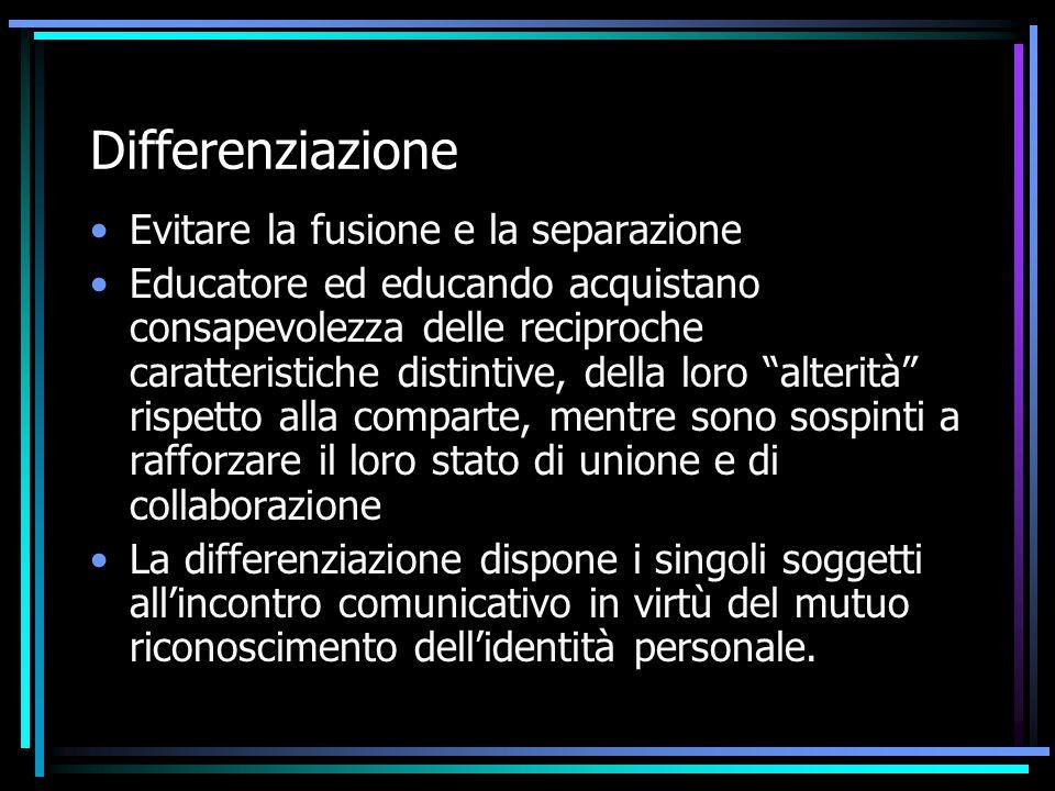 Differenziazione Evitare la fusione e la separazione Educatore ed educando acquistano consapevolezza delle reciproche caratteristiche distintive, dell