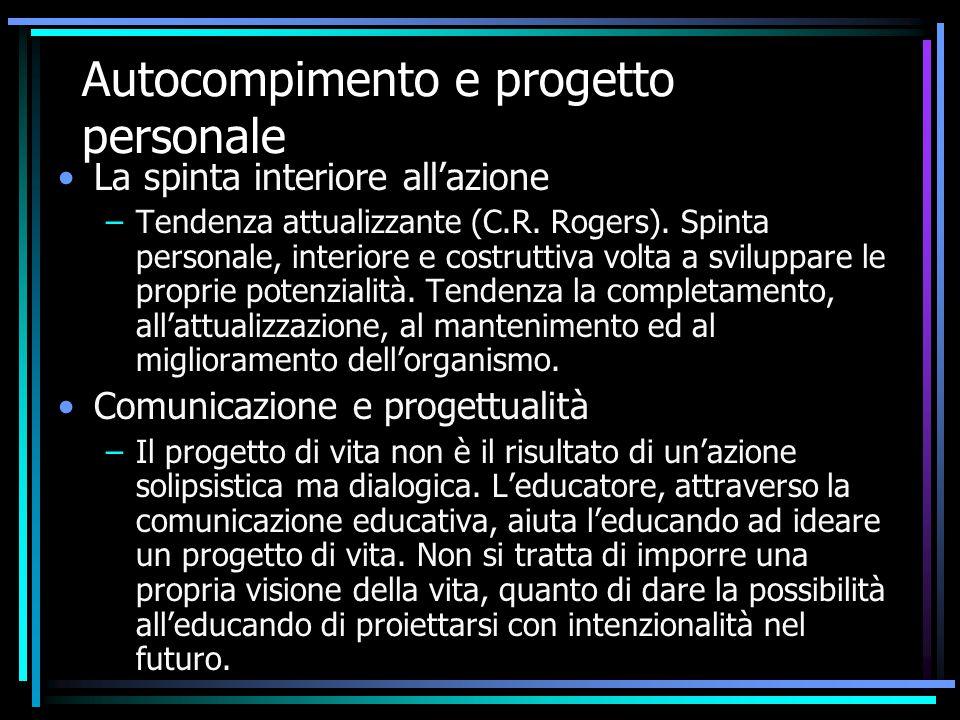Autocompimento e progetto personale La spinta interiore all'azione –Tendenza attualizzante (C.R. Rogers). Spinta personale, interiore e costruttiva vo