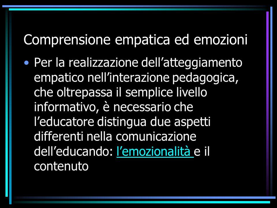 Comprensione empatica ed emozioni Per la realizzazione dell'atteggiamento empatico nell'interazione pedagogica, che oltrepassa il semplice livello inf