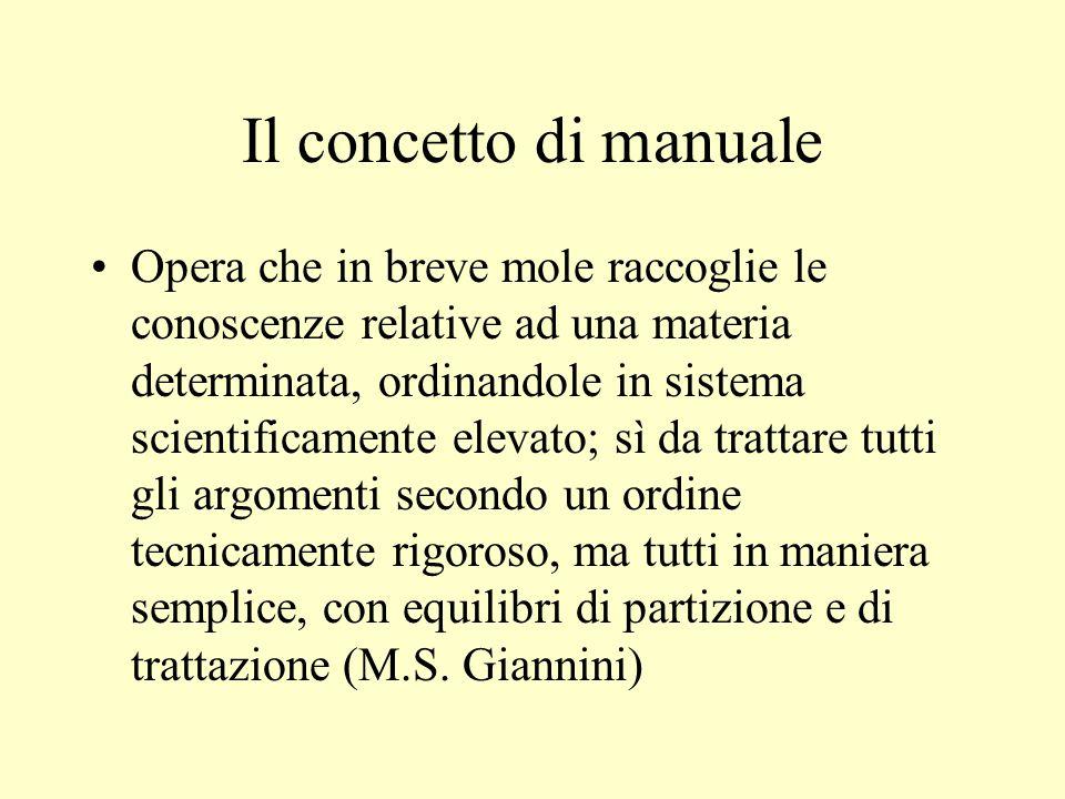 Il concetto di manuale Opera che in breve mole raccoglie le conoscenze relative ad una materia determinata, ordinandole in sistema scientificamente el