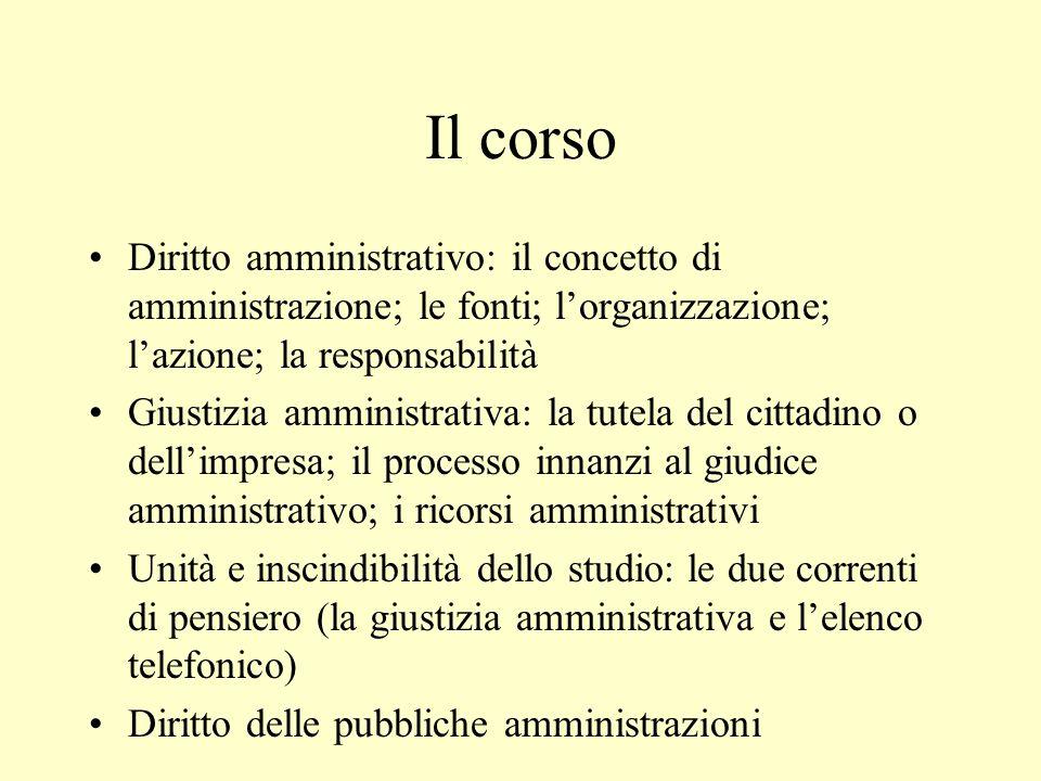 Il corso Diritto amministrativo: il concetto di amministrazione; le fonti; l'organizzazione; l'azione; la responsabilità Giustizia amministrativa: la