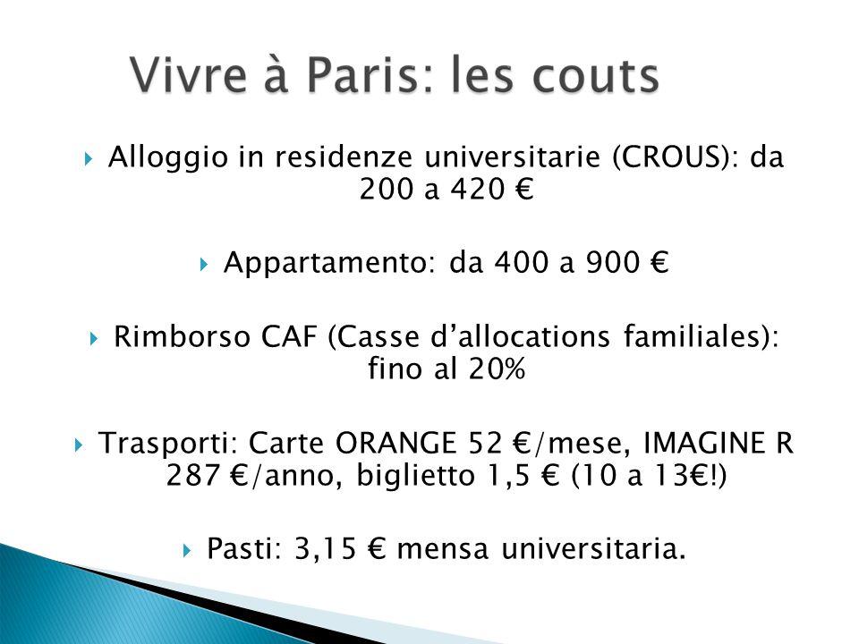  Alloggio in residenze universitarie (CROUS): da 200 a 420 €  Appartamento: da 400 a 900 €  Rimborso CAF (Casse d'allocations familiales): fino al