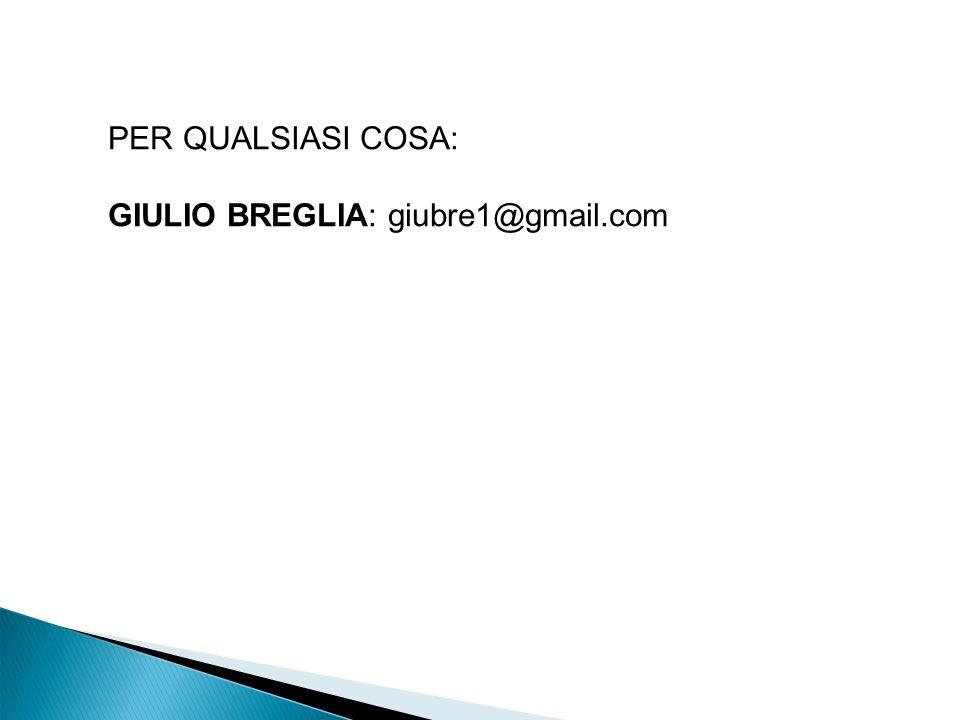 PER QUALSIASI COSA: GIULIO BREGLIA: giubre1@gmail.com