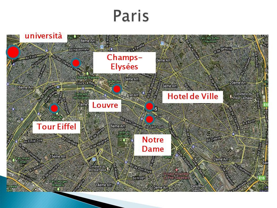 università Champs- Elysées Tour Eiffel Hotel de Ville Notre Dame Louvre