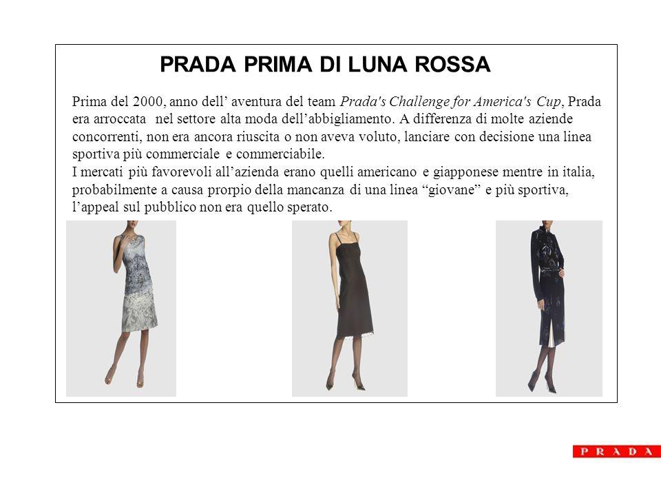 Prima del 2000, anno dell' aventura del team Prada s Challenge for America s Cup, Prada era arroccata nel settore alta moda dell'abbigliamento.