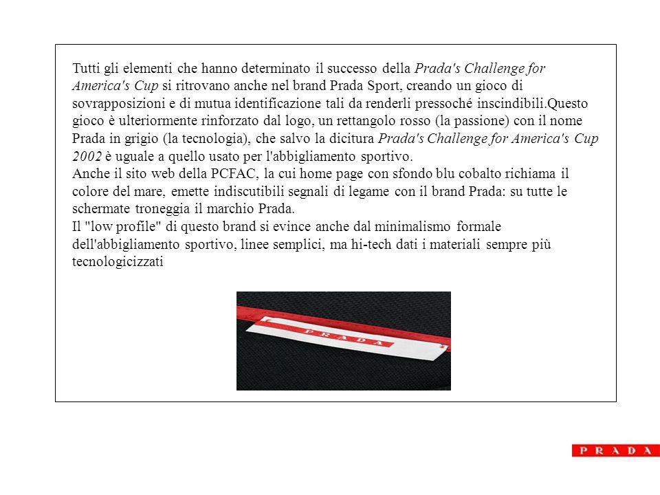 PRADA DOPO LUNA ROSSA Prada attraverso questa identificazione totale con l'avventura di Luna Rossa, ha lanciato una linea di abbigliamento sportivo, da vela , che ha ottenuto un successo ecclatante sul pubblico.