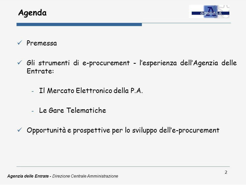 2 Agenda Premessa Gli strumenti di e-procurement - l'esperienza dell'Agenzia delle Entrate: - Il Mercato Elettronico della P.A.