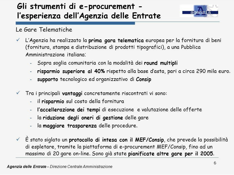 6 Le Gare Telematiche L'Agenzia ha realizzato la prima gara telematica europea per la fornitura di beni (fornitura, stampa e distribuzione di prodotti tipografici), a una Pubblica Amministrazione italiana : - Sopra soglia comunitaria con la modalità dei round multipli - risparmio superiore al 40% rispetto alla base d'asta, pari a circa 290 mila euro.