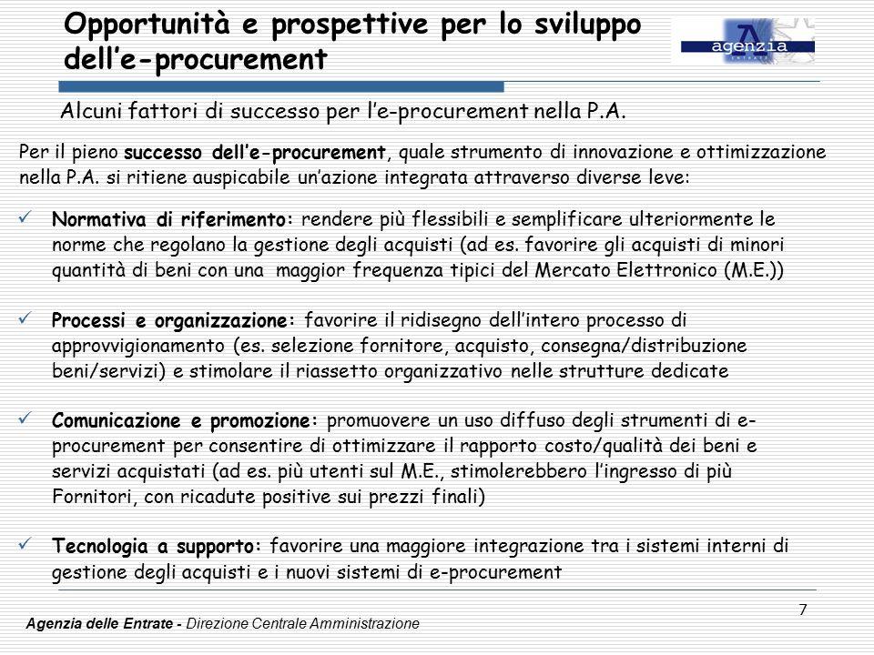 7 Opportunità e prospettive per lo sviluppo dell'e-procurement Agenzia delle Entrate - Direzione Centrale Amministrazione Alcuni fattori di successo per l'e-procurement nella P.A.