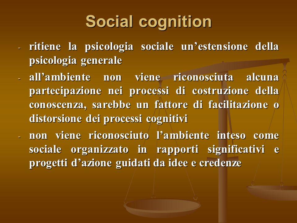 Social cognition - ritiene la psicologia sociale un'estensione della psicologia generale - all'ambiente non viene riconosciuta alcuna partecipazione n