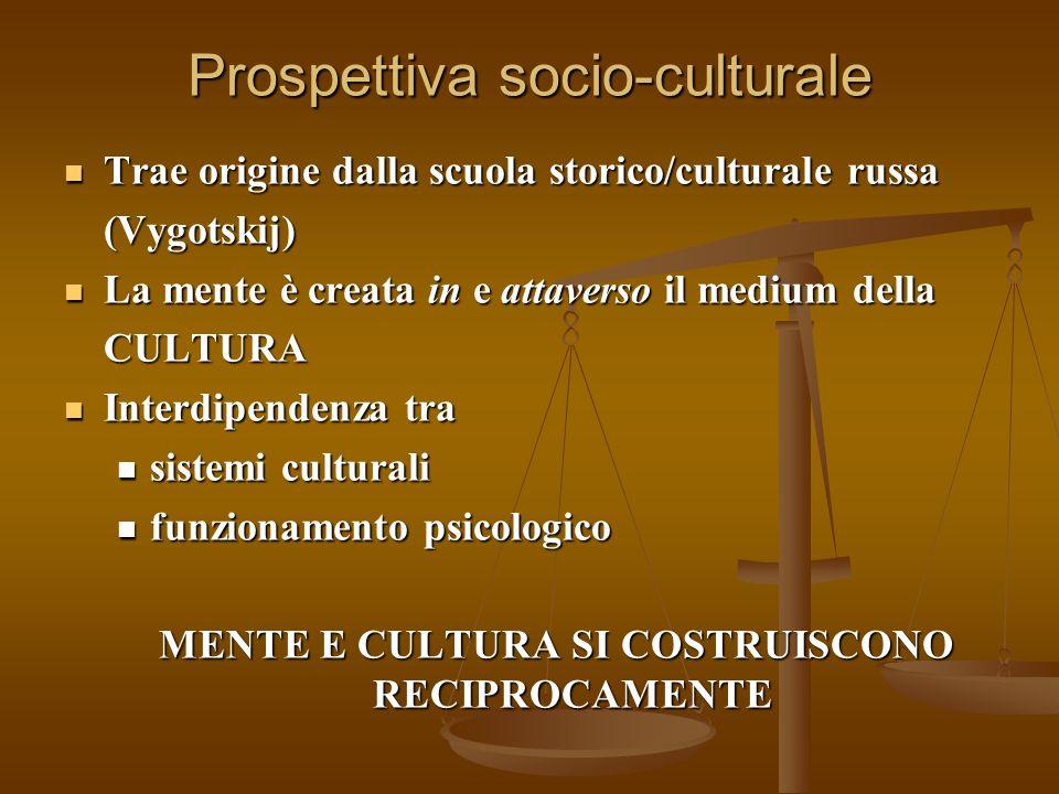 Prospettiva socio-culturale Trae origine dalla scuola storico/culturale russa Trae origine dalla scuola storico/culturale russa(Vygotskij) La mente è