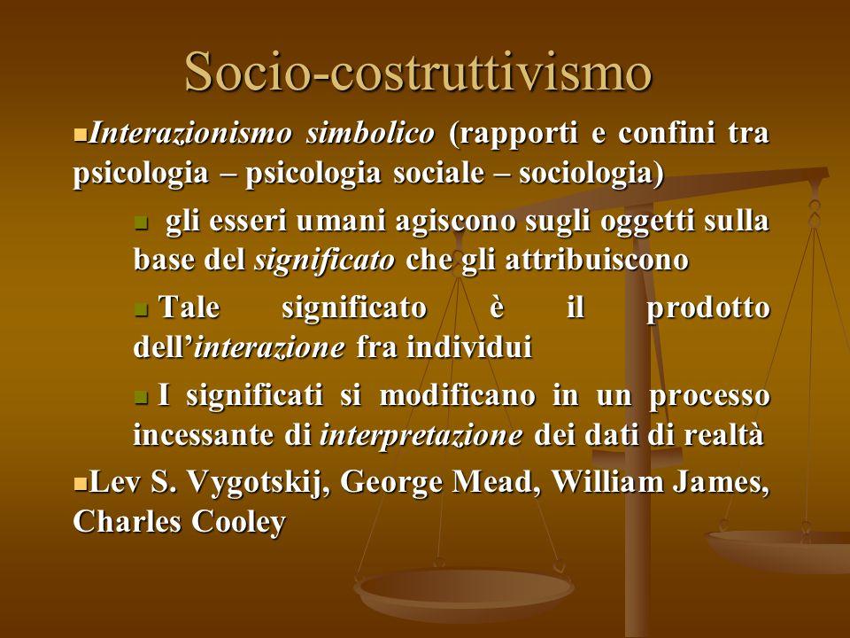 Socio-costruttivismo Interazionismo simbolico (rapporti e confini tra psicologia – psicologia sociale – sociologia) Interazionismo simbolico (rapporti