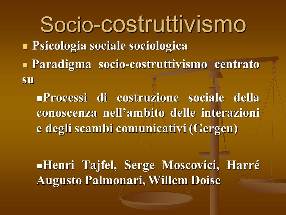 Socio- costruttivismo Psicologia sociale sociologica Psicologia sociale sociologica Paradigma socio-costruttivismo centrato su Paradigma socio-costrut