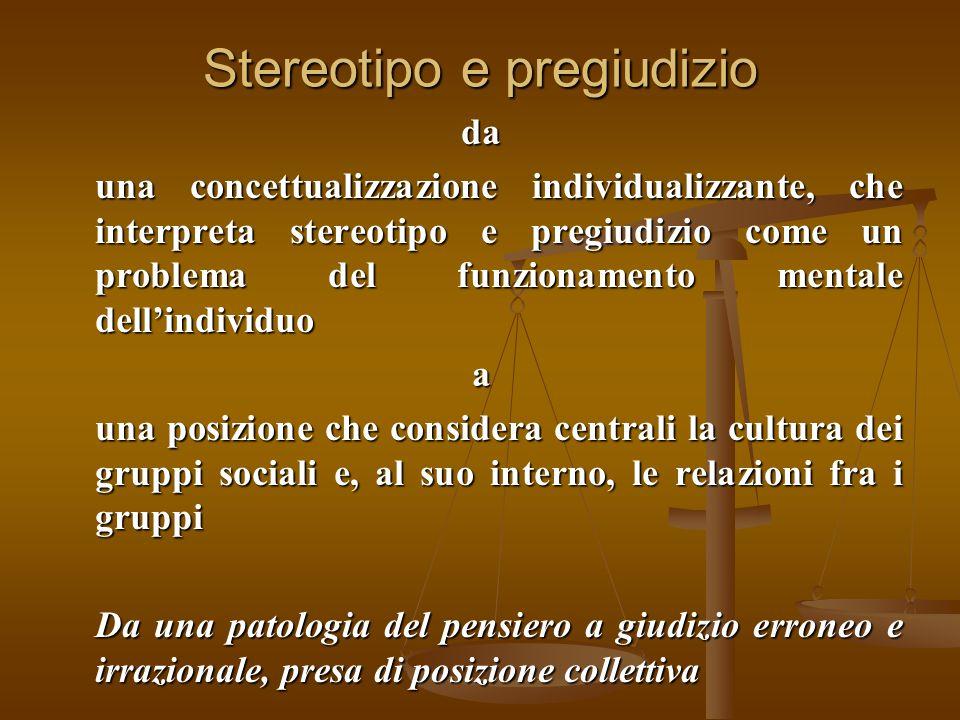 Stereotipo e pregiudizio da una concettualizzazione individualizzante, che interpreta stereotipo e pregiudizio come un problema del funzionamento ment