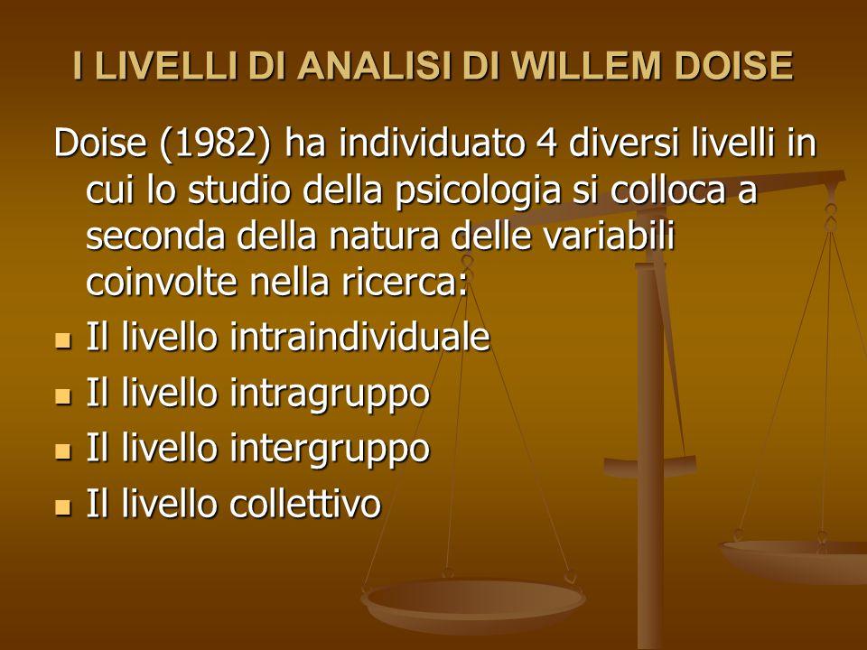 I LIVELLI DI ANALISI DI WILLEM DOISE Doise (1982) ha individuato 4 diversi livelli in cui lo studio della psicologia si colloca a seconda della natura