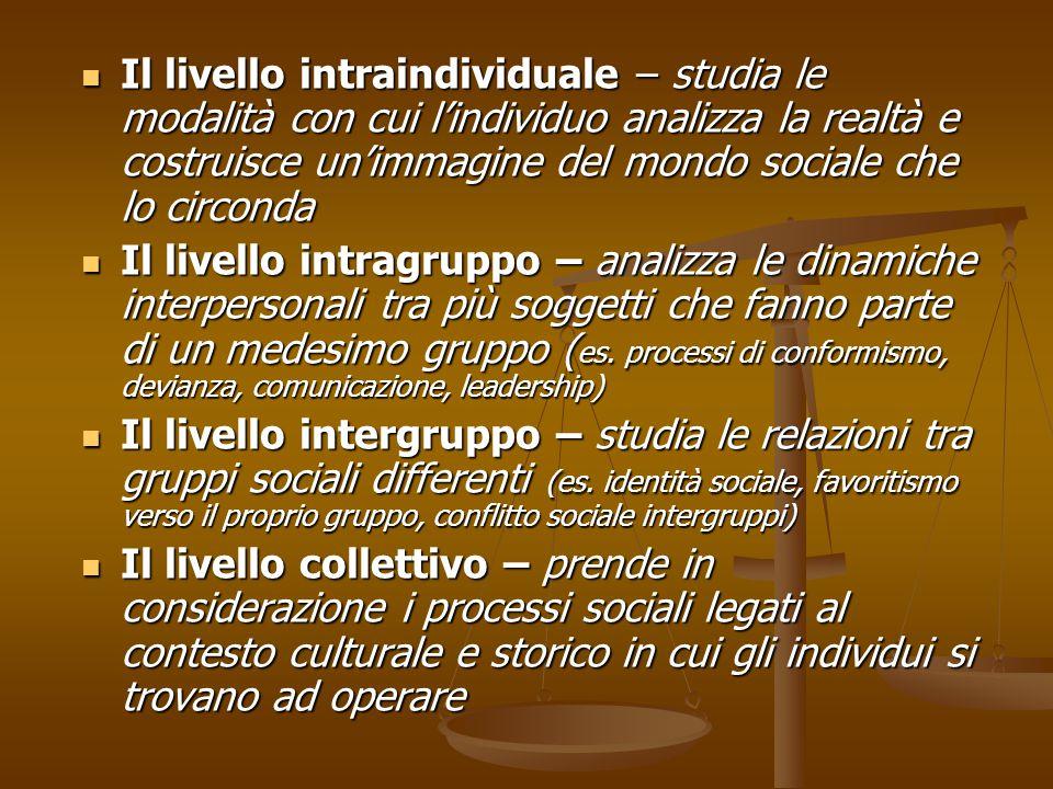Il livello intraindividuale – studia le modalità con cui l'individuo analizza la realtà e costruisce un'immagine del mondo sociale che lo circonda Il