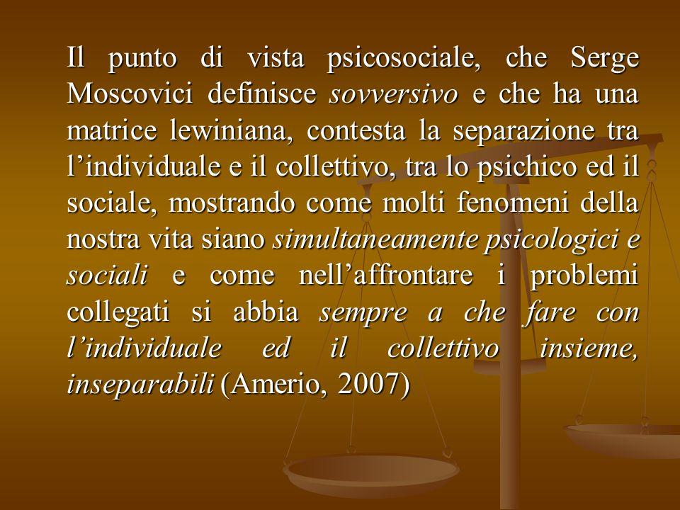 Il punto di vista psicosociale, che Serge Moscovici definisce sovversivo e che ha una matrice lewiniana, contesta la separazione tra l'individuale e i