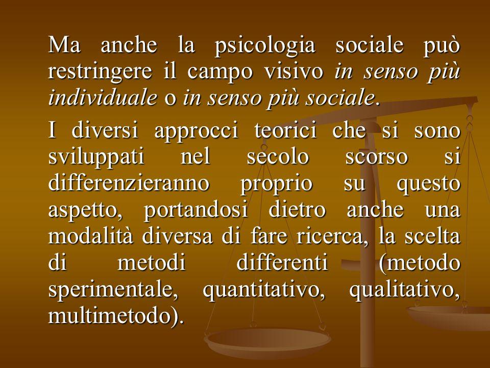 Ma anche la psicologia sociale può restringere il campo visivo in senso più individuale o in senso più sociale. I diversi approcci teorici che si sono