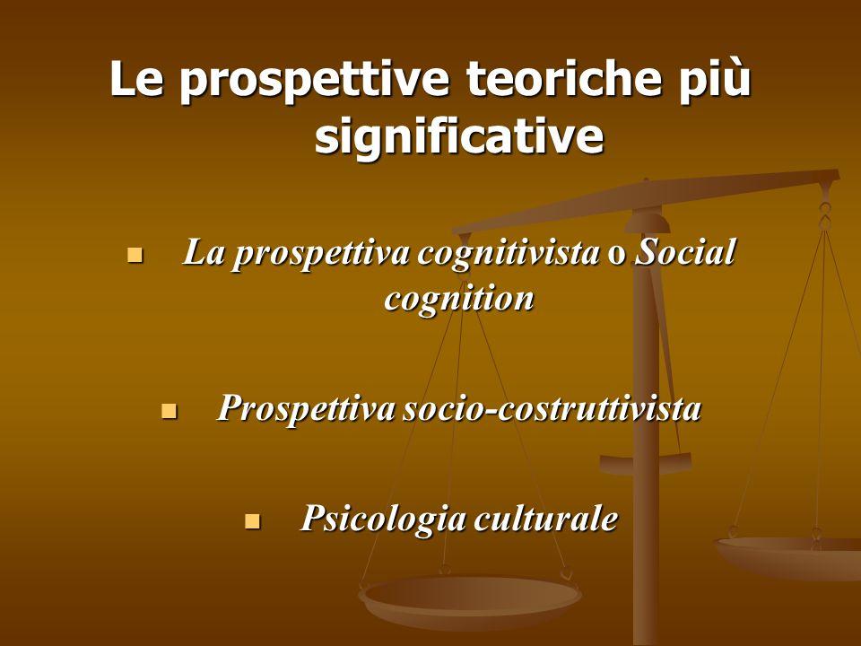 Social Cognition Il focus di questo approccio, di matrice statunitense, consiste nell'analizzare i processi mentali individuali di elaborazione delle informazioni provenienti da stimoli sociali e ad essi viene riconosciuto un ruolo prioritario nella conoscenza della realtà sociale.