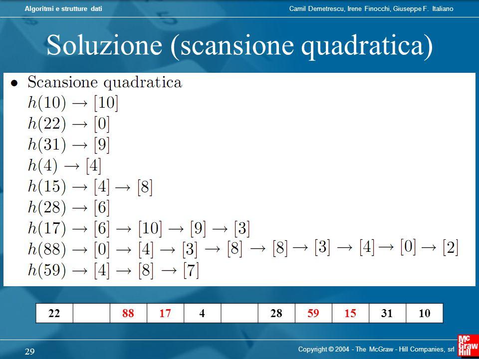 Camil Demetrescu, Irene Finocchi, Giuseppe F. ItalianoAlgoritmi e strutture dati Soluzione (scansione quadratica) Copyright © 2004 - The McGraw - Hill