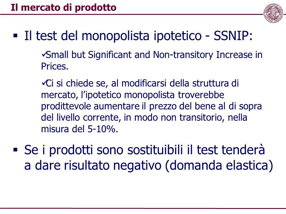 Il mercato di prodotto  Il test del monopolista ipotetico - SSNIP: Small but Significant and Non-transitory Increase in Prices. Ci si chiede se, al m