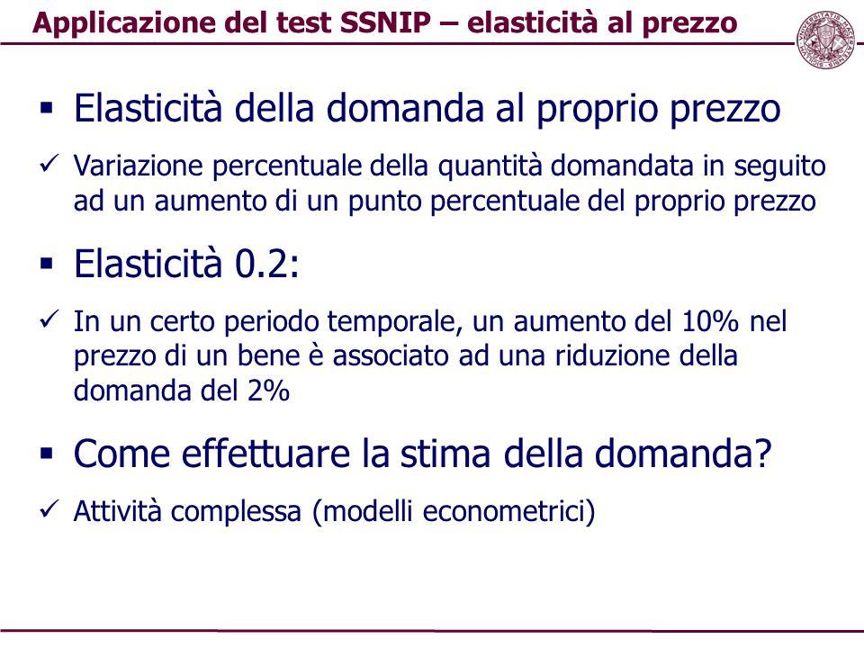 Applicazione del test SSNIP – elasticità al prezzo  Elasticità della domanda al proprio prezzo Variazione percentuale della quantità domandata in seg