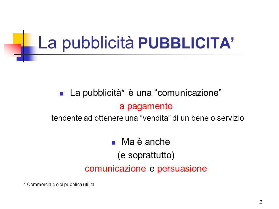 """2 La pubblicità PUBBLICITA' La pubblicità* è una """"comunicazione"""" a pagamento tendente ad ottenere una """"vendita"""" di un bene o servizio Ma è anche (e so"""
