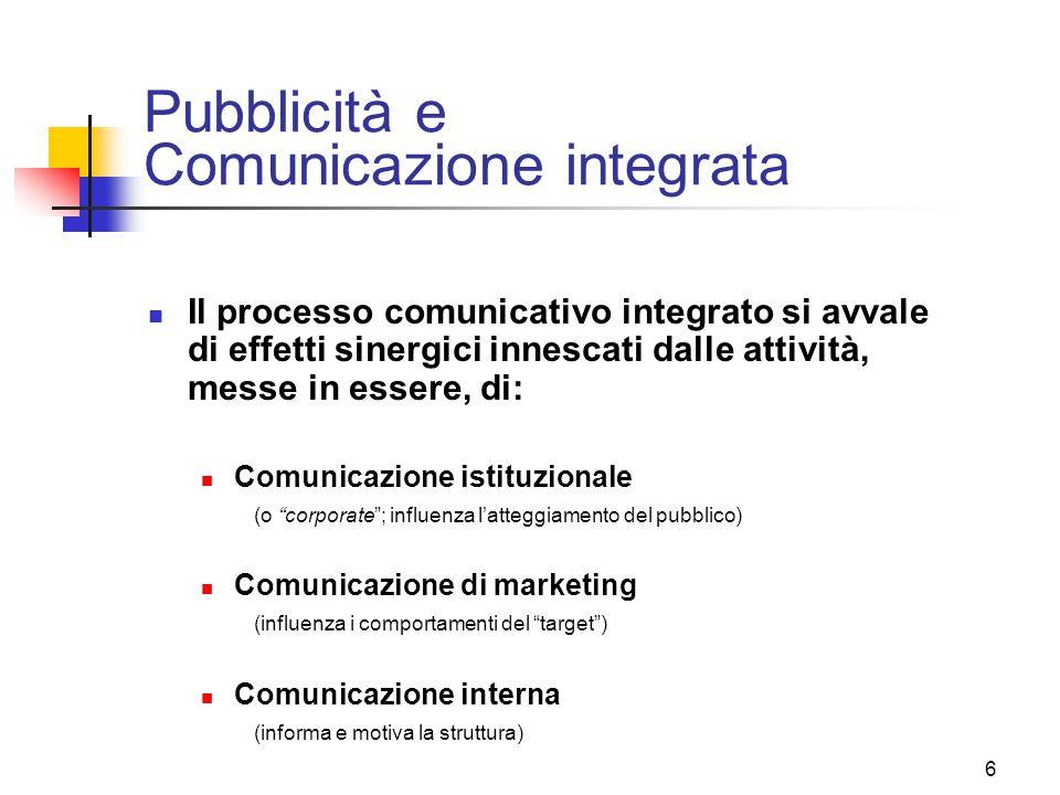 6 Pubblicità e Comunicazione integrata Il processo comunicativo integrato si avvale di effetti sinergici innescati dalle attività, messe in essere, di