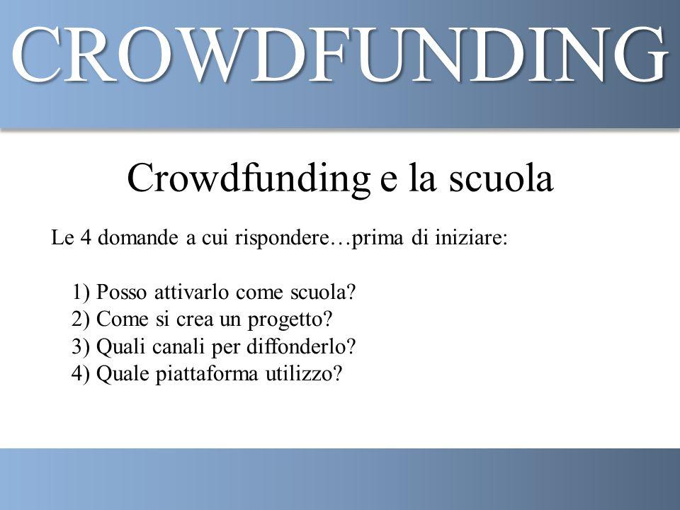 Crowdfunding e la scuola Le 4 domande a cui rispondere…prima di iniziare: 1) Posso attivarlo come scuola.
