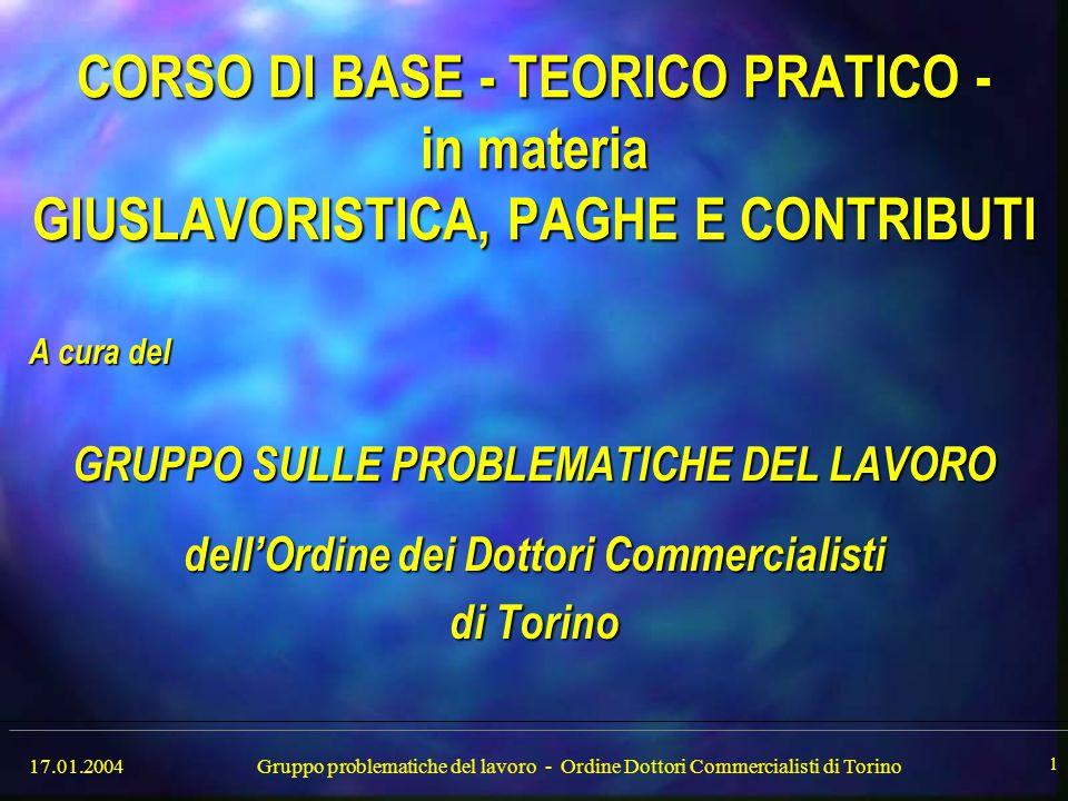17.01.2004Gruppo problematiche del lavoro - Ordine Dottori Commercialisti di Torino 2 RELATORI ESTERNI Avv.