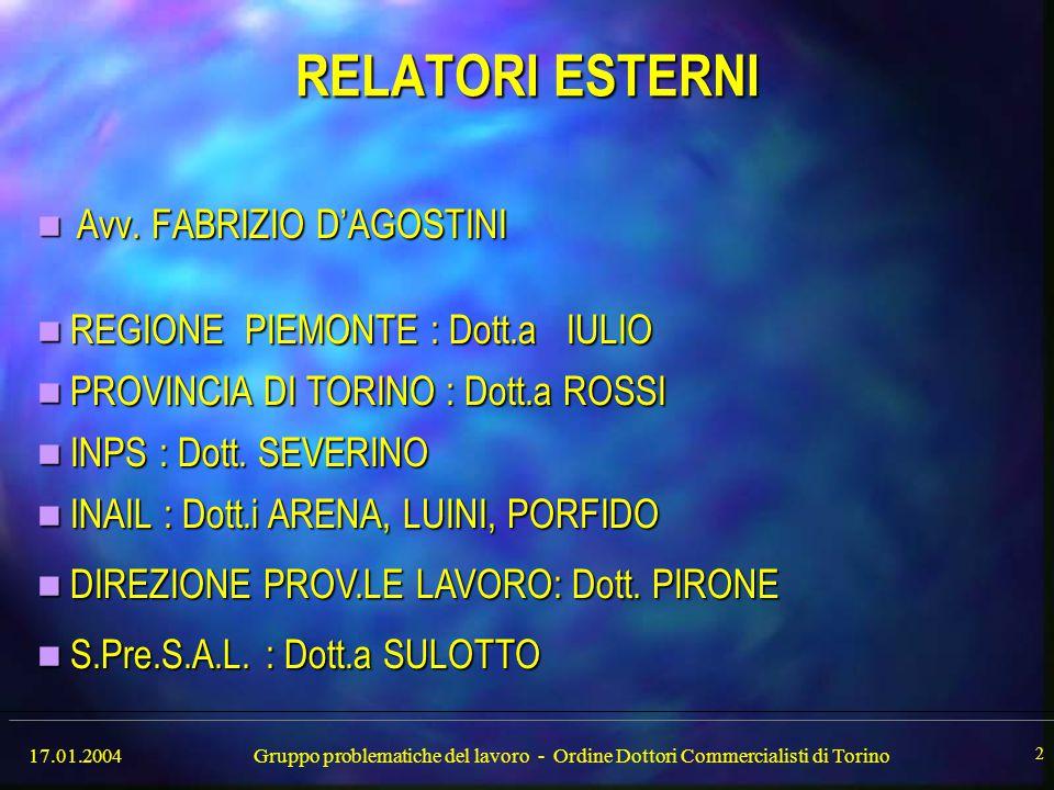 17.01.2004Gruppo problematiche del lavoro - Ordine Dottori Commercialisti di Torino 3 RELATORI del GRUPPO di LAVORO Dott.