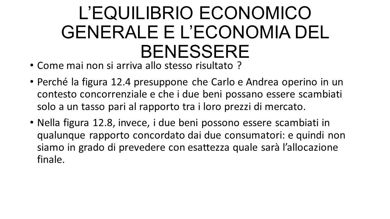 L'EQUILIBRIO ECONOMICO GENERALE E L'ECONOMIA DEL BENESSERE Come mai non si arriva allo stesso risultato .